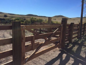 ranch wood fence 4-rail wire mesh gate rural agricultural