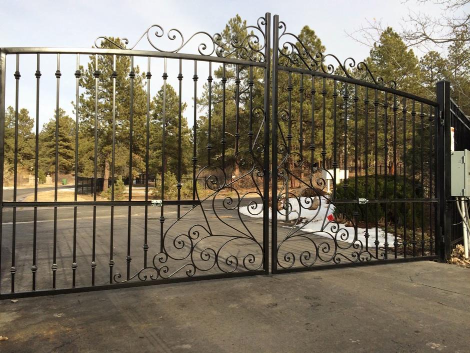 black automated decorative iron gate