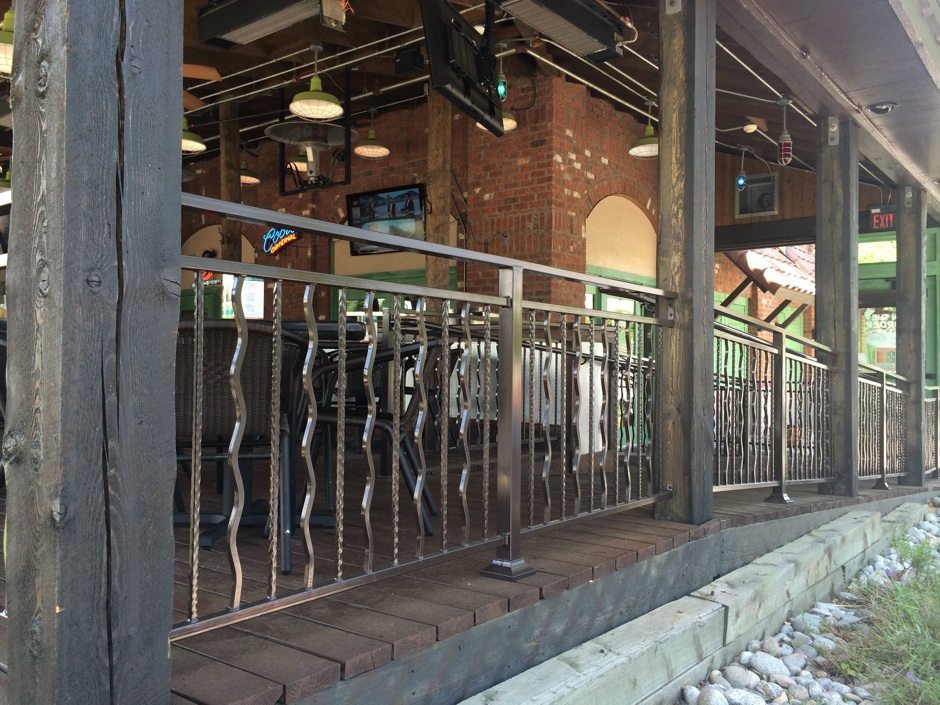 Custom decorative fabricated iron fence commercial restuarant