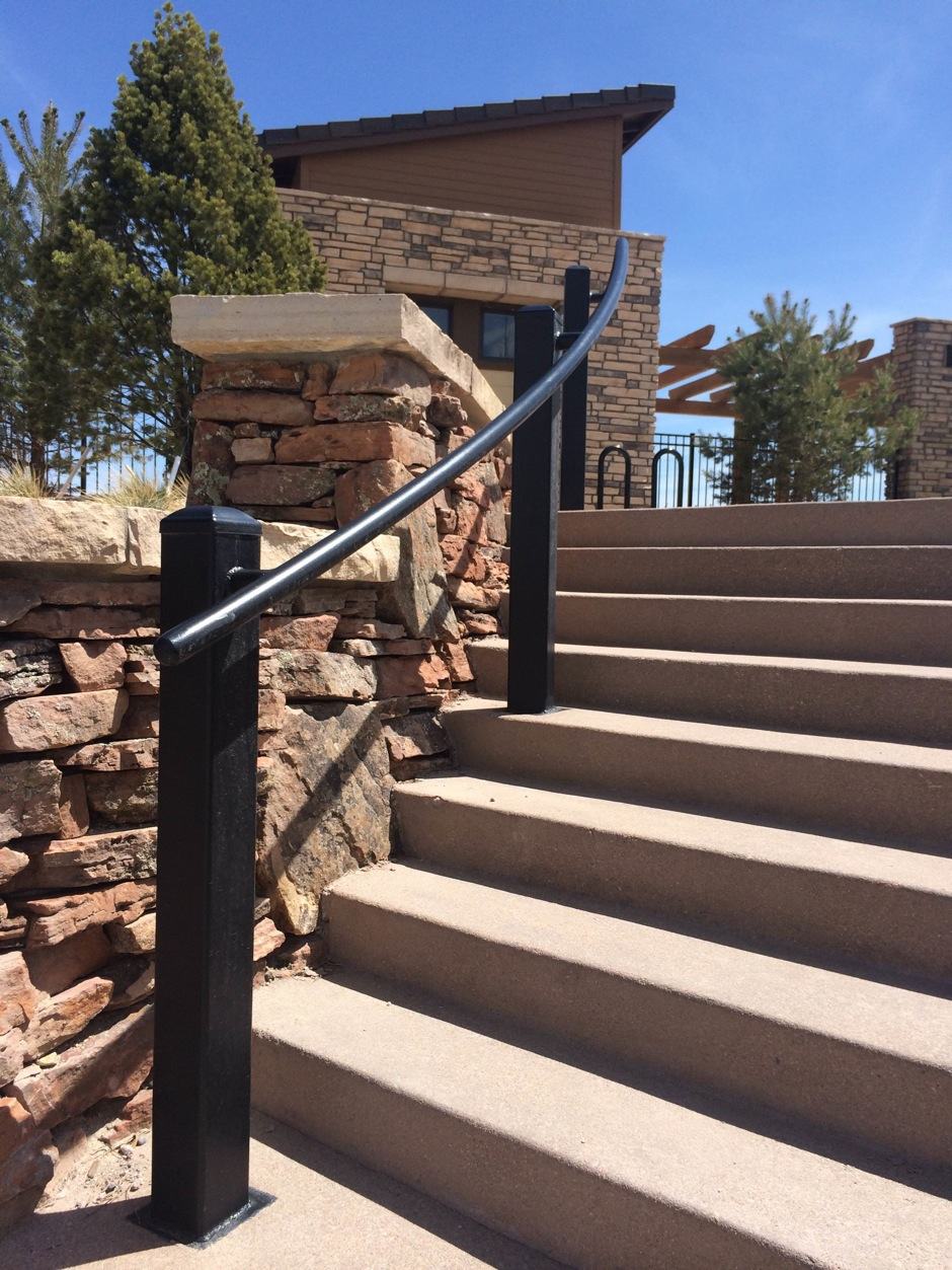 Custom decorative fabricated iron stair rail
