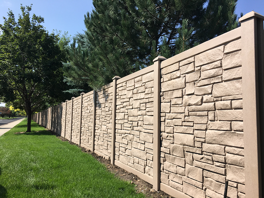 tall cream simtek system fence HOA