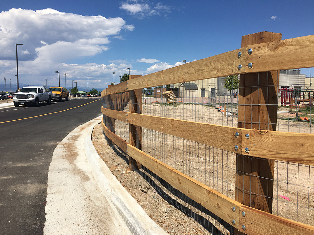 3 rail fence with metal mesh commercial