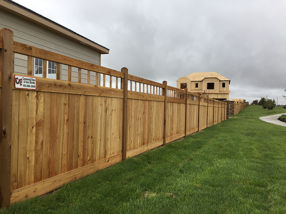 decorative top wood fence HOA
