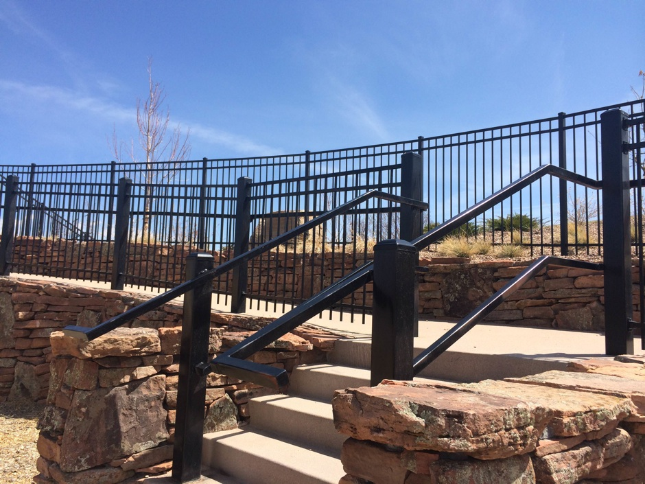 commercial black iron fence and railing