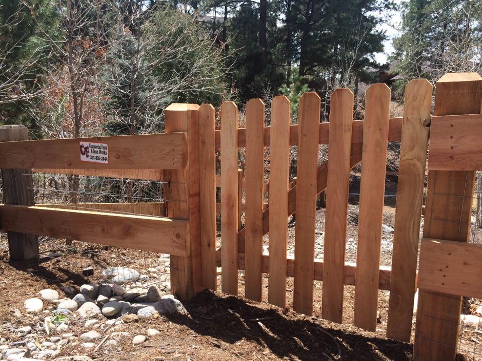 residential 2-rail fence wood gate