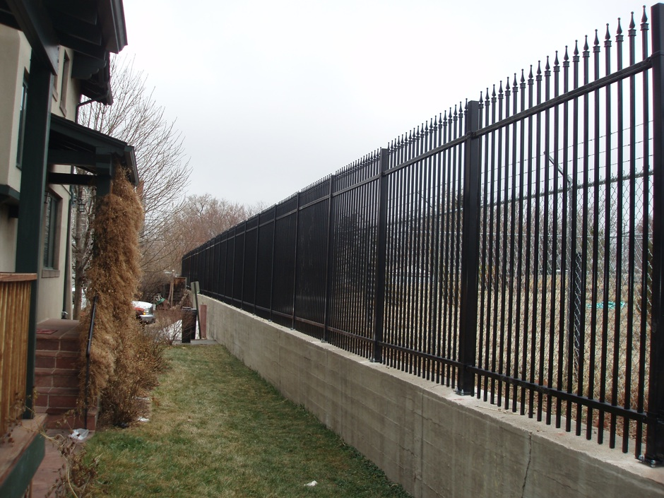 tall decorative black iron fence commercial